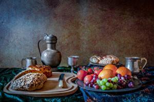 Фотографии Натюрморт Хлеб Фрукты Кувшин Разделочной доске Еда