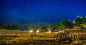Фотографии Камень Ночные Деревья Лучи света Природа
