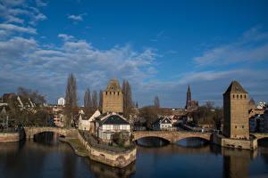 Обои Страсбург Франция Здания Речка Мосты Небо