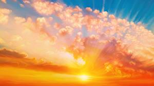 Фото Рассветы и закаты Рисованные Облака Солнце