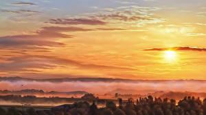 Картинки Рассветы и закаты Рисованные Небо Туман Солнце