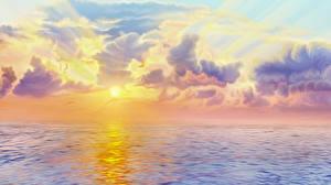 Фото Рассветы и закаты Море Рисованные Облака Молния