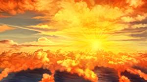 Фото Рассветы и закаты Море Рисованные Лучи света Облака