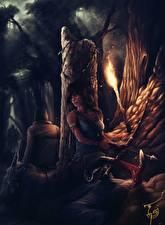 Фотографии Tomb Raider 2013 Лара Крофт Факел Лук оружие Девушки