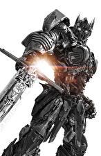 Фото Трансформеры: Последний рыцарь Робот Мечи Белый фон Optimus Prime Фильмы
