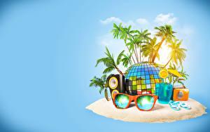 Обои Тропики Напитки Радио Остров Пальмы Очки Стакан 3D Графика