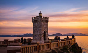 Фотография Тоскана Италия Рассветы и закаты Маяки Забор Piombino