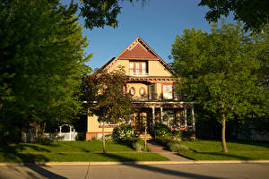 Обои Штаты Здания Особняк Дизайн Деревья Газон Pipestone Minnesota Города