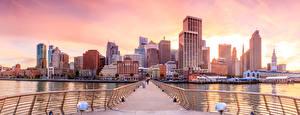 Фотографии Штаты Дома Речка Мосты Сан-Франциско Забор Города