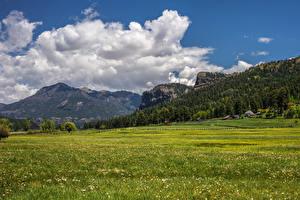 Фото США Пейзаж Горы Леса Здания Луга Облака Colorado Природа