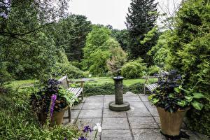 Обои Великобритания Сады Скамья Деревья Garden Harlow Carr Природа