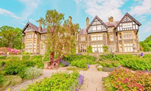 Картинка Великобритания Здания Сады Особняк Дизайн Кусты Graig Wales Города