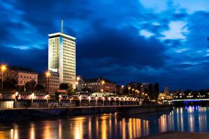 Фотография Вена Австрия Дома Реки Небо Ночные Уличные фонари Donaukanal Города