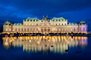 Картинки Вена Австрия Пруд Дворец Ночные Звездочки Отражение Palace Belvedere Города