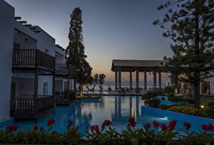 Фото Вилла Греция Курорты Вечер Бассейны Rhodos Города