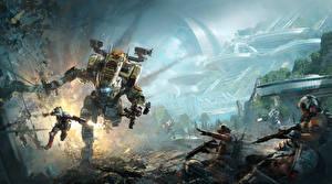 Картинка Воители Битвы Titanfall 2 Робот Игры Фэнтези