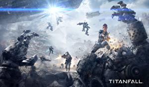 Обои Воители Сражения Робот Titanfall Фэнтези