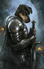 Картинка Воин Собаки Доспехи Фантастика