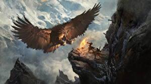 Фотография Воины Магия Орлы Горы Волшебные животные Крылья