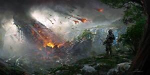 Фото Воин Фантастический мир Катастрофы Titanfall 2 Игры Фэнтези