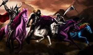 Обои Воители Лошади Единороги Коса (оружие) Доспехи Бег Фэнтези