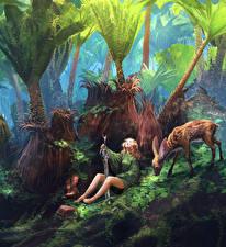 Картинки Воители Волшебные животные Мечи Деревья Фэнтези Девушки