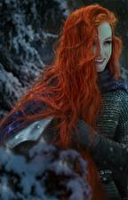 Фотография Воины Рыжая Волосы Улыбка Фэнтези Девушки