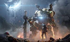 Обои Воины Titanfall 2 Робот Мечи BT-7274 Фэнтези