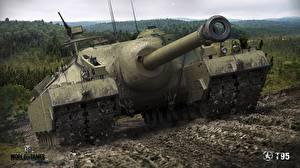 Обои World of Tanks Самоходка Американский В грязи T95 Игры