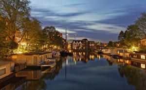 Обои Амстердам Нидерланды Здания Реки Вечер Пирсы Города