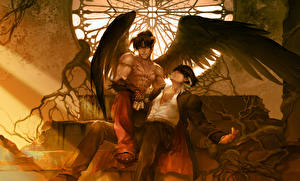 Обои Ангелы Tekken Парни 2 Крылья Сидя Фан АРТ Jin Kazama, Devil Jin Игры Фэнтези