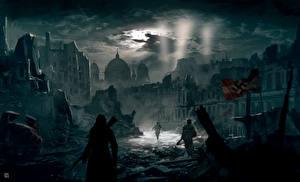 Обои Assassin's Creed Развалины Ночь Berlin Игры картинки