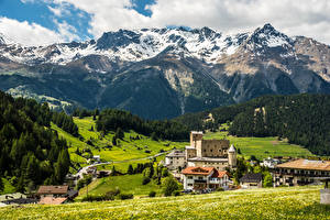 Фотографии Австрия Здания Горы Леса Луга Nauders Города