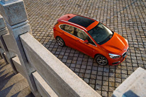 Картинки БМВ Оранжевая Сверху 2016 220i Active Tourer Luxury Line Автомобили
