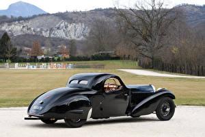 Обои BUGATTI Ретро Черный Металлик Сзади 1935 Type 57 Atalante Coupe Prototype Автомобили картинки