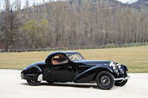 Обои BUGATTI Ретро Черный Металлик Сбоку 1935 Type 57 Atalante Coupe Prototype Автомобили картинки