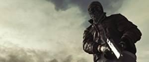 Картинка Battlefield Hardline Мужчины Маски Пистолеты Вид исподнизу Игры