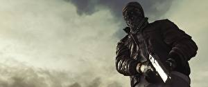Картинка Battlefield Hardline Мужчины Маски Пистолеты Вид снизу
