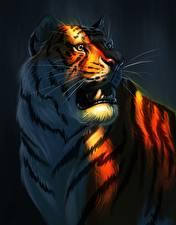 Фотография Большие кошки Тигры Рисованные Клыки Усы Вибриссы Животные