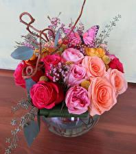 Фото Букеты Розы Бабочки Цветы