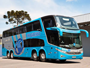 Обои Автобус Голубой 2011-17 Marcopolo Paradiso G7 1800 DD 8×2