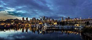Фотографии Канада Дома Причалы Яхта Вечер Мосты Катера Ванкувер Залив Города