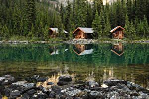 Картинка Канада Парки Озеро Леса Здания Камень Yoho National Park Природа