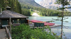 Фотографии Канада Парк Озеро Пристань Леса Лодки Yoho National Park Природа