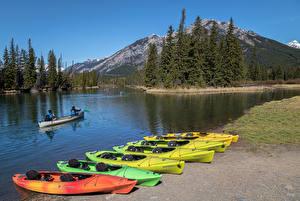 Картинки Канада Парки Речка Лодки Банф Ель Bow River Природа