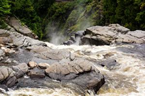 Картинка Канада Водопады Камень Каньон Canyon Sainte-Anne Quebec