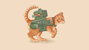 Картинка Коты Рисованные Пулеметы Ракетные установки Цветной фон Животные