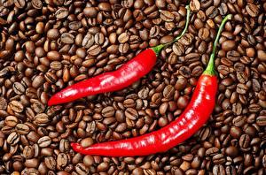 Фотография Кофе Острый перец чили Зерна Пища