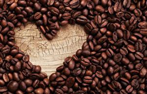 Обои Кофе Вблизи Сердечко Зерна Пища
