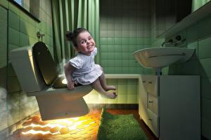 Картинки Креатив Смешной Девочка Туалета Дети